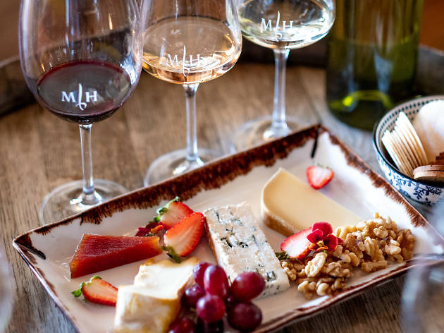 Cheese plate with three wines