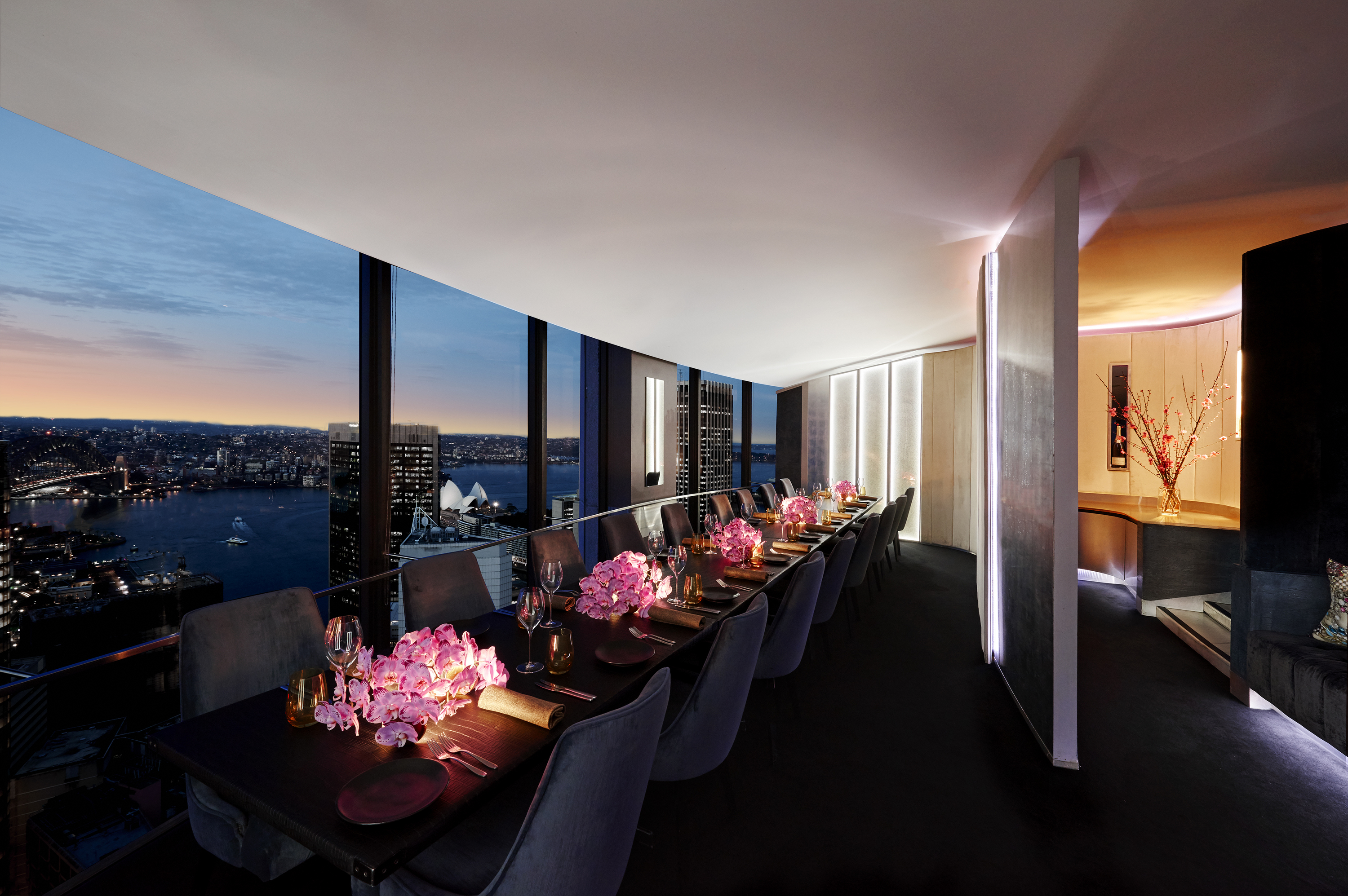 The private dining room at dusk at O Bar and Dining