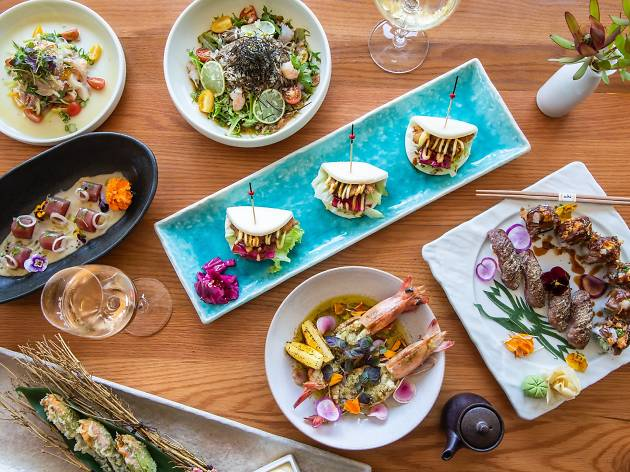 Flatlay of Japanese dishes at Sake Manly