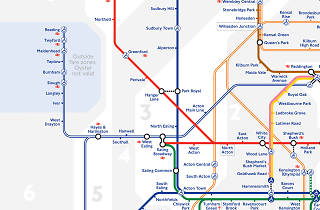 Extract from new tube map, December 2019, showing TfL Rail to Reading