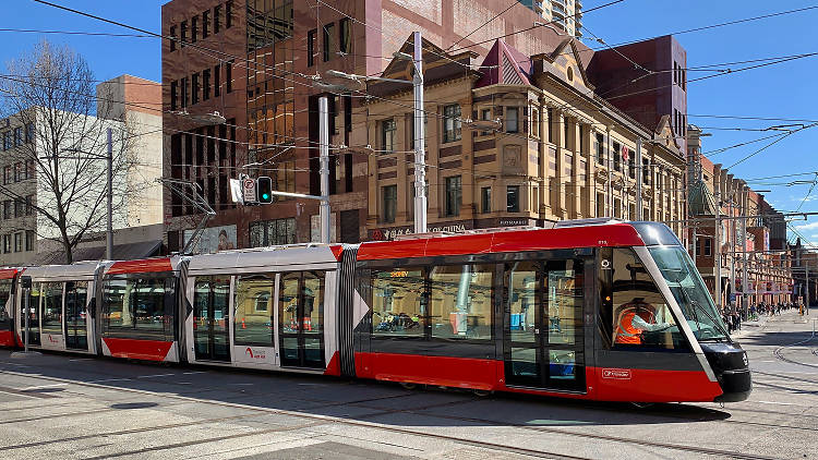 The new light rail line in the city.