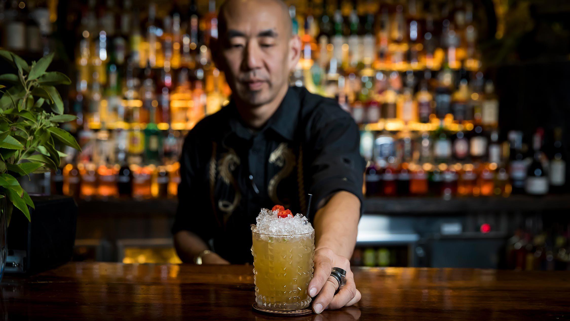 making cocktails at Saga Bar