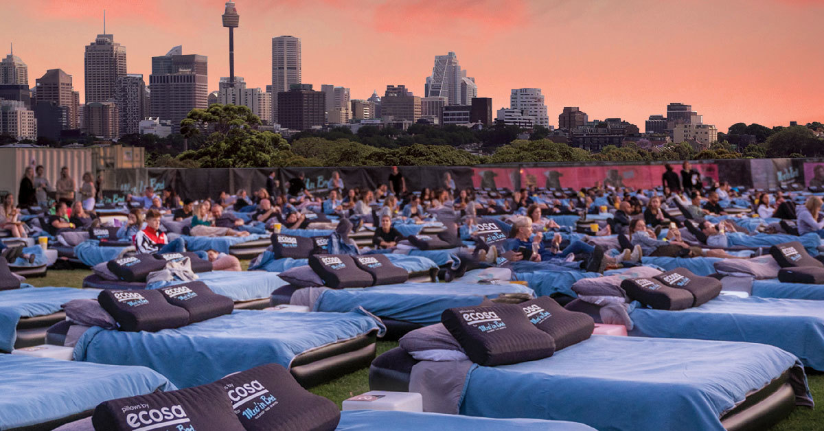 Sydney skyline in the background of an outdoor cinema