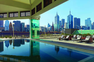 Jacuzzi with view of Melbourne skyline