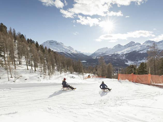 Muottas Muragl toboggan run, St Moritz, Engadin