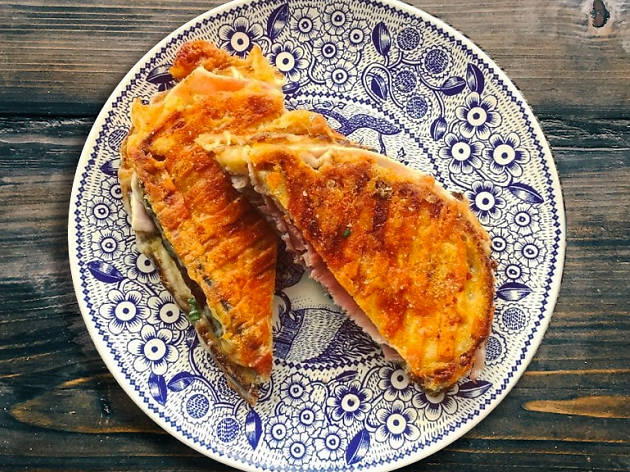 A cheese toastie on a Plate