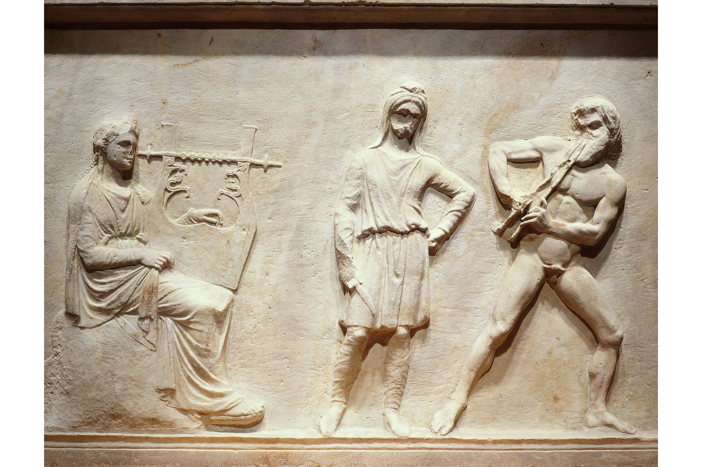 Musical contest of Apollo and Marsyas, relief, statue pedestal, c. 320 BC, attributed to Praxiteles