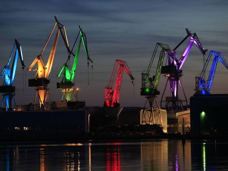 See how cranes light up a whole shipyard