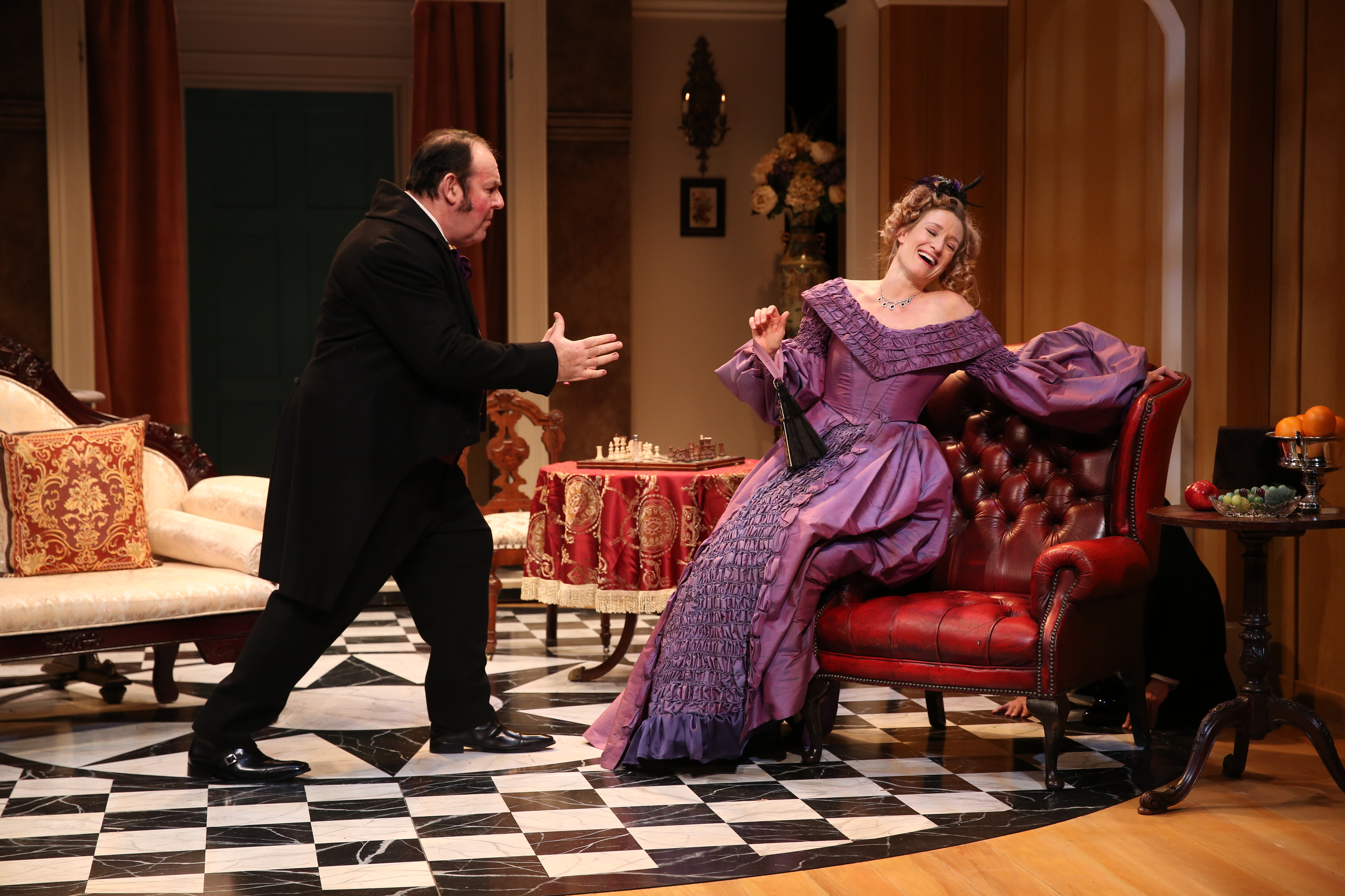 Colin McPhillamy and Rachel Pickup in the 2019 production of LONDON ASSURANCE at Irish Rep - Photo by Carol Rosegg