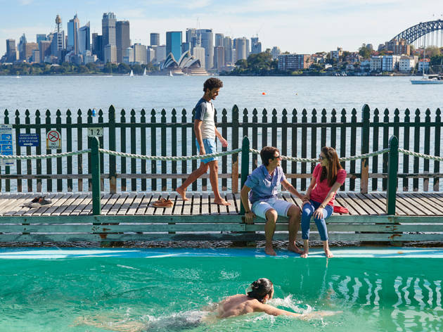 Bathers enjoy MacCallum Pool