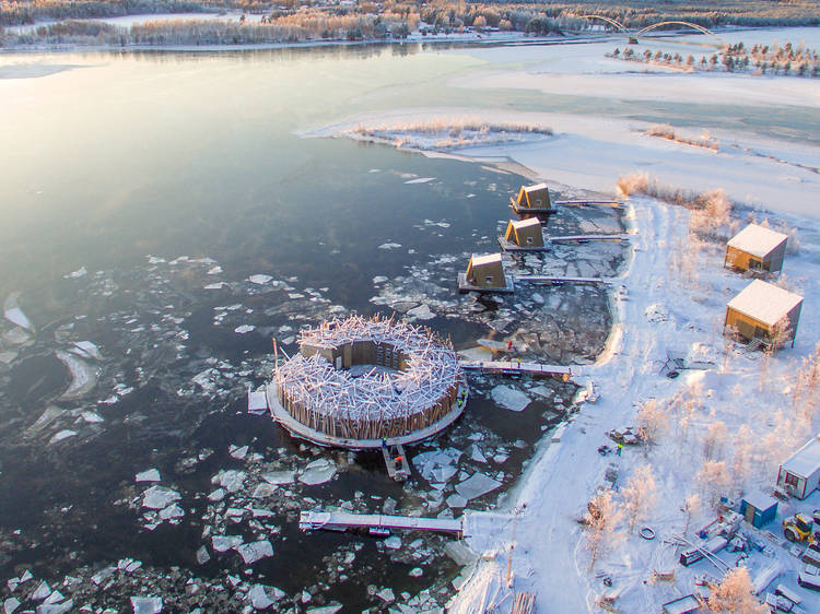 Brave the icy water at a floating Arctic hotel