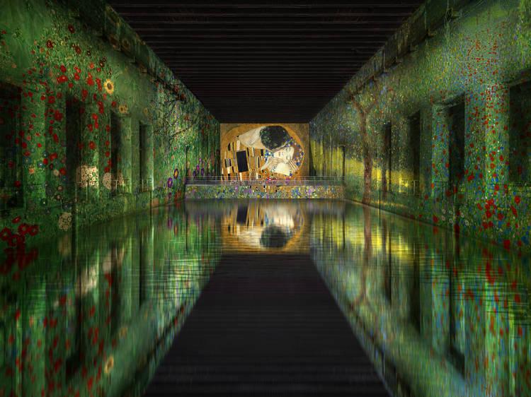 Enter a submarine base full of digital art