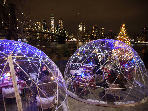 Dine in an igloo-like dome overlooking the skyline