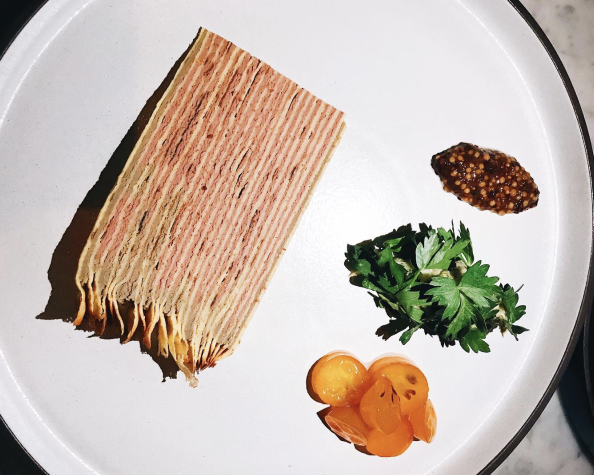 Yours Truly mille crepe chicken liver venice