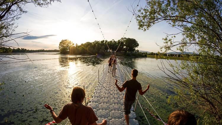 Zagreb's Jarun lake, dotted by six small islands