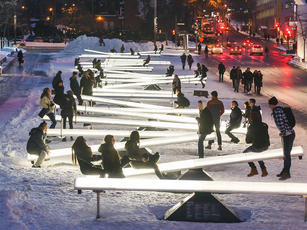 Glowing seesaws come to midtown