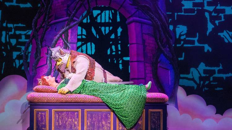 Cast onstage in performance of Shrek the Musical