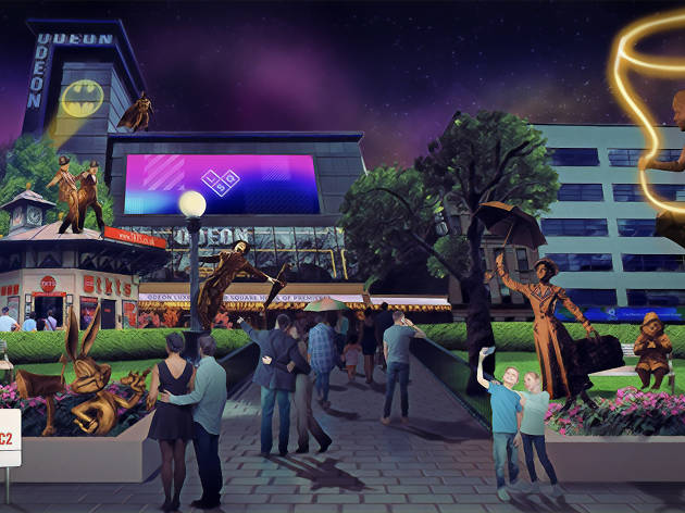 An artist's impression of 'Scenes in the Square', which is set to change the face of Leicester Square, the home of entertainment, from February 2020. The long-term art installation will celebrate 100 years of cinema and premieres in the square, featuring