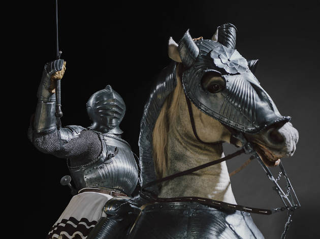 Armor for Man and Horse, about 1520 with modern costume. South German, Nuremberg.