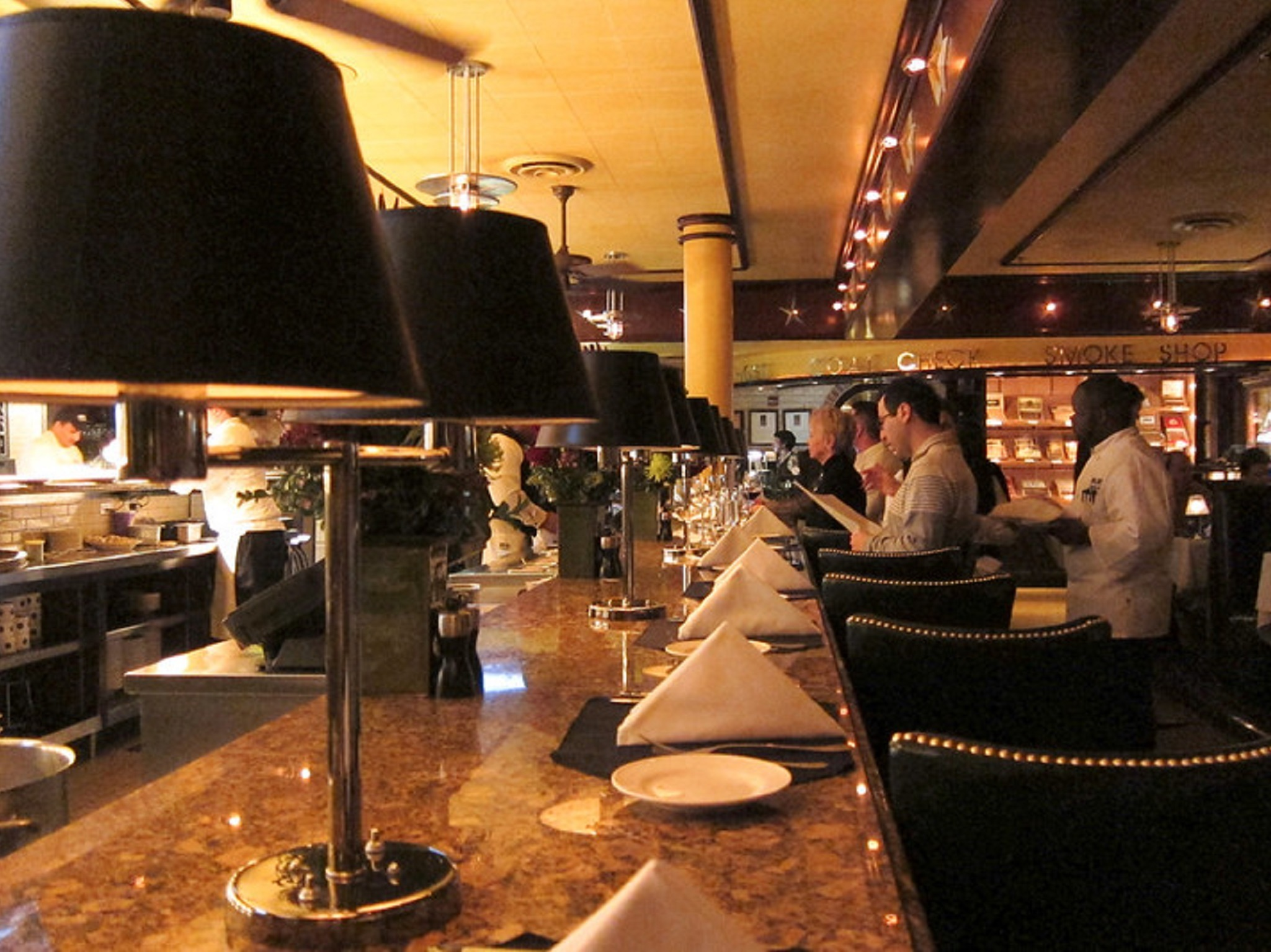 The interior and bar of Pappas Bros