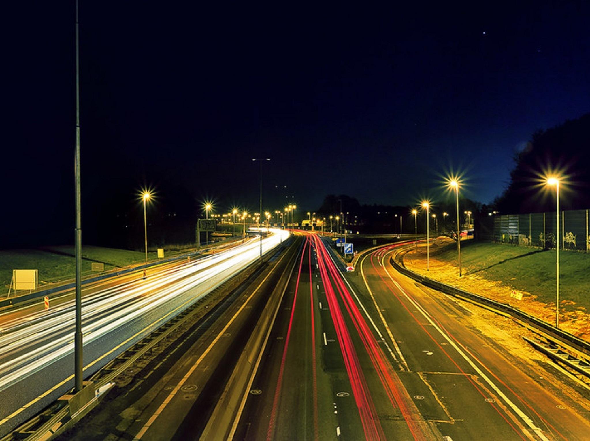 A highway at night