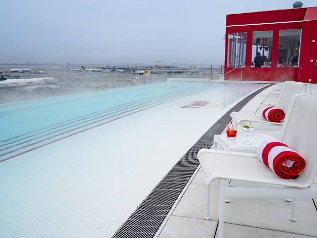 This massive rooftop hot tub will be overlooking the runway at JFK all winter
