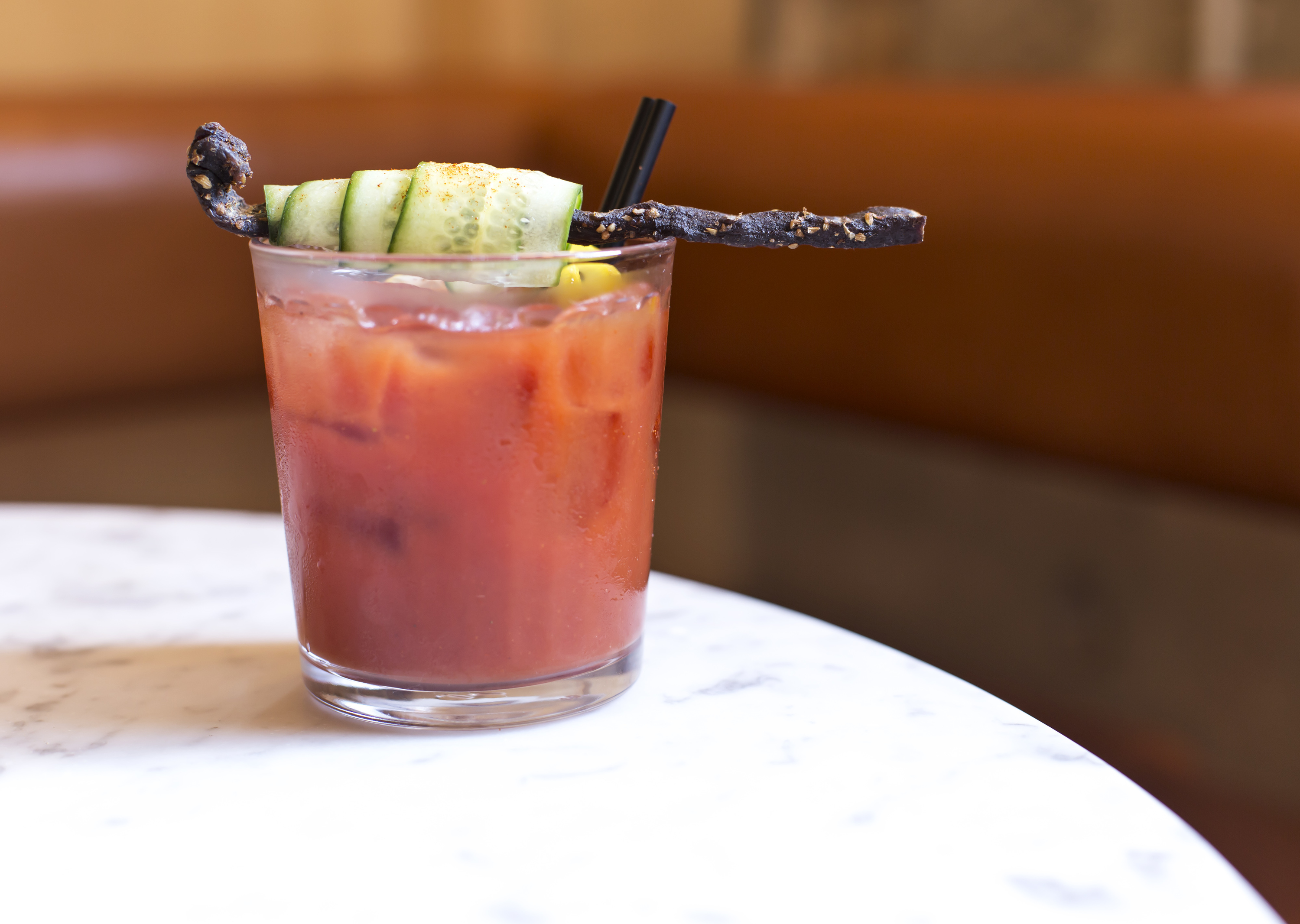 A Bloody Mary on a white table