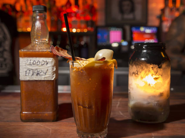 A Bloody Mary on the bar at Mary's