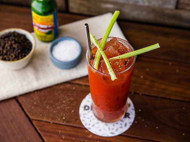 A Bloody Mary on a table at Dead Ringer