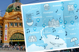 An illustration of a map of Melbourne overlaid on a photo of Flinders Street Station