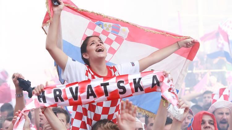 Croatian fans celebrating
