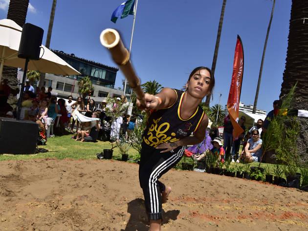 Indigenous Hip Hop dancer performs outside