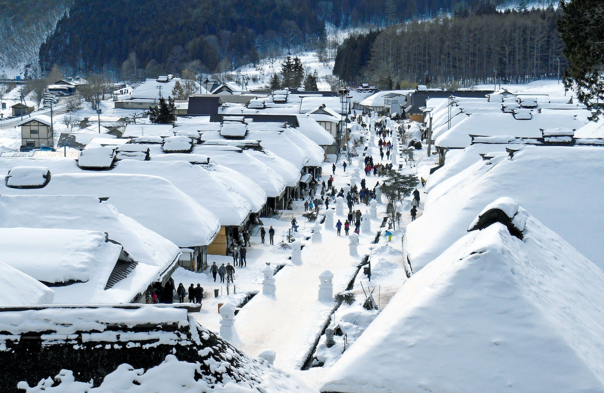 Ouchijuku during the Snow Festival