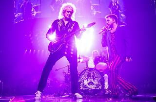 Adam Lambert on stage with Queen