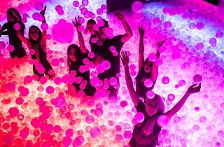 A group of people have their arms up, flailing in a dark room filled with white balls lit with pink, purple and orange lights.