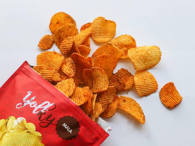 Yolky Chips Mala Potato Chips ($6.95)