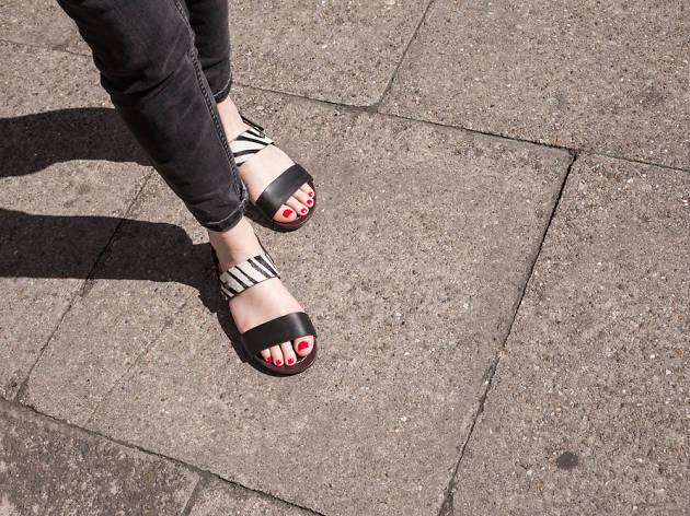 Woman wearing sandals