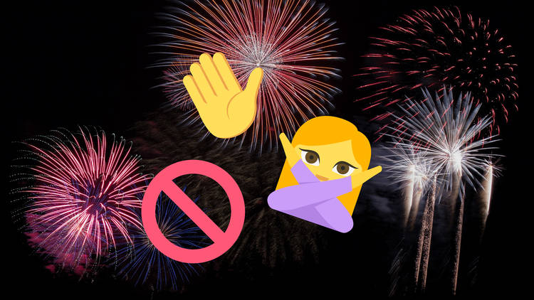 Fireworks Stop Sign Emojis