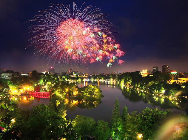 Tet (Lunar New Year) fireworks over Hoan Kiem Lake, Hanoi