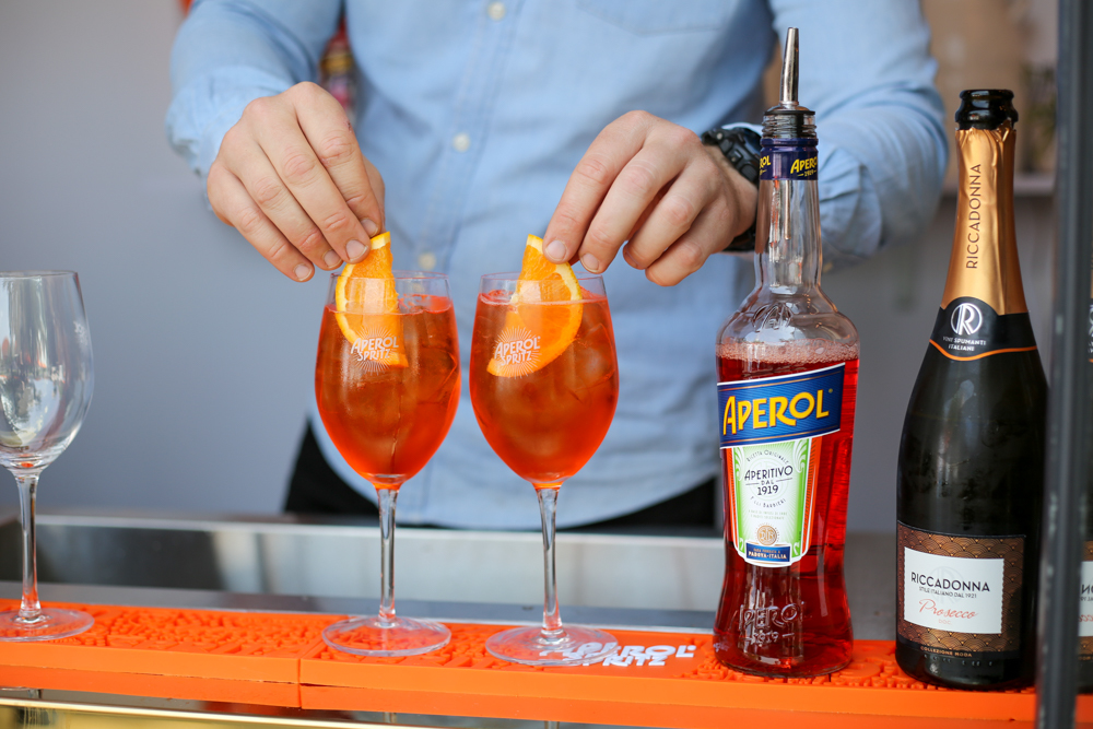 Making Aperol Spritz at Aperol Bar