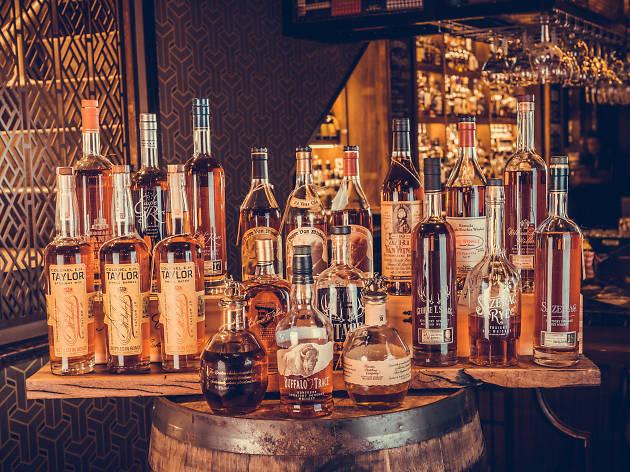 Bottles of Buffalo Trace Distillery bourbon and rye