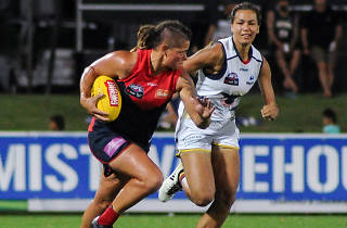 Chelsea Randall of the Demons flies for a mark during the 2016 Womens All Stars match between the Western Bulldogs and the Melbourne Demons