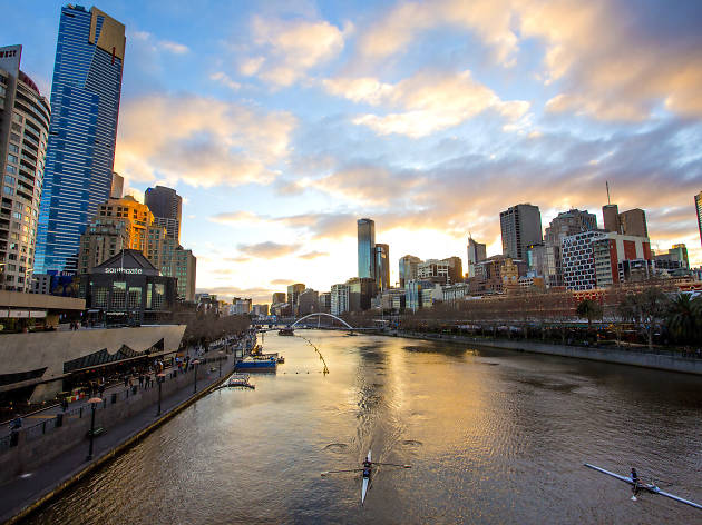 View of Melbourne skyline from Princess Bridge at sunset