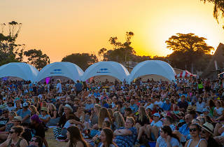 A crowd of people sitting on grass with domed tents and a sunset behind them
