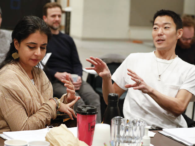 The Headlands rehearsal Aaron Yoo and Mahira Kakkar
