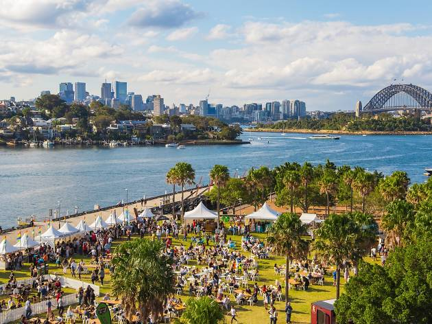 Wine festival at Pirrama Park overlooking the Harbour