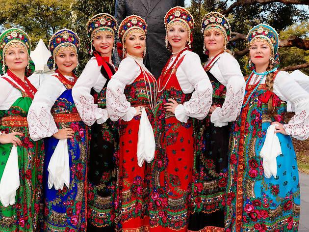 Women wearing traditional Russian costume