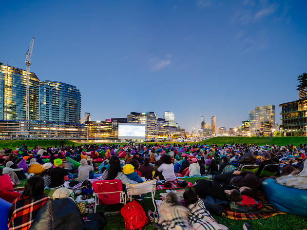 Cityscape watching outdoor film in Melbourne