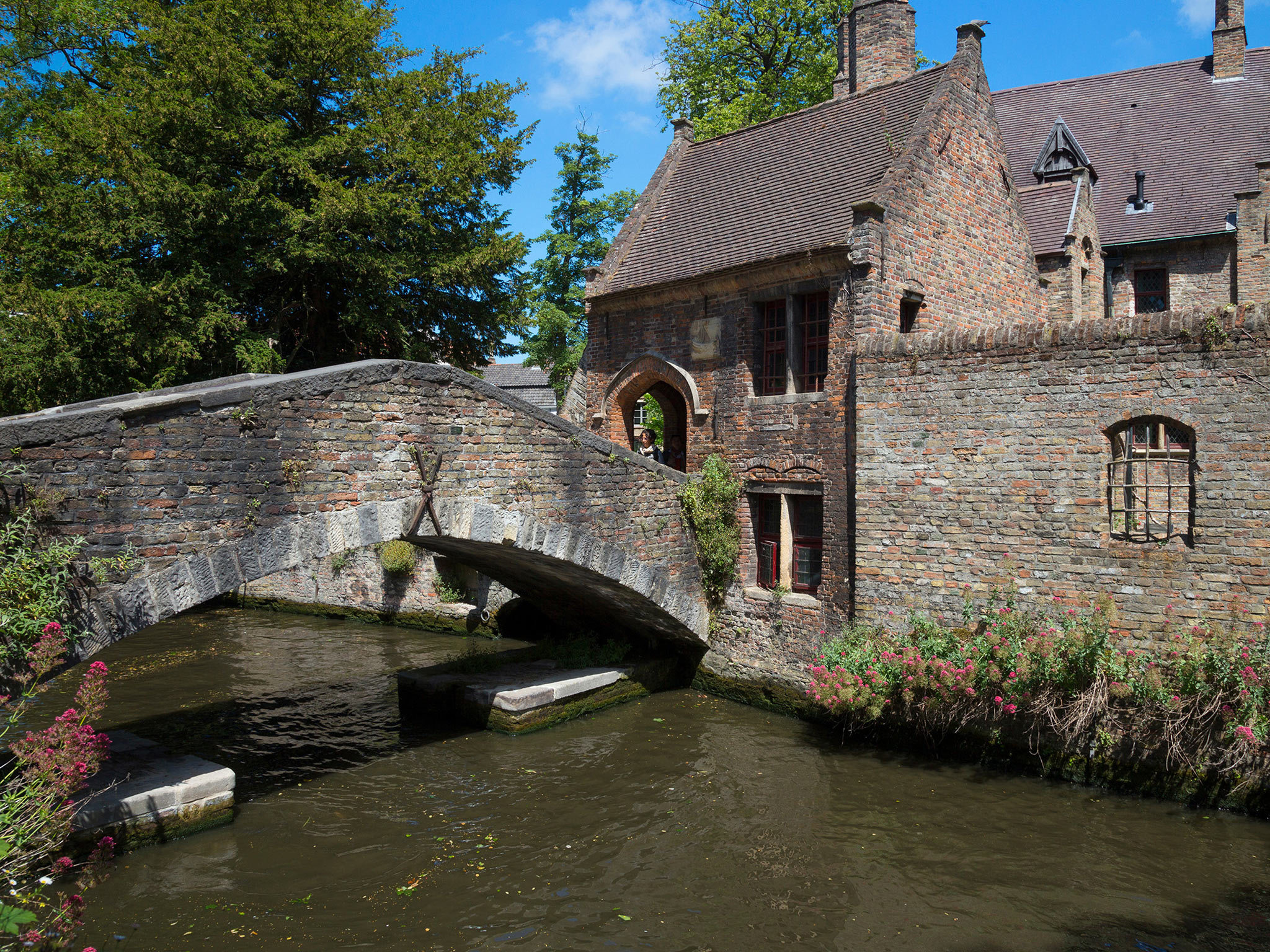 Lovers' Bridge and Lake of Love in Bruges