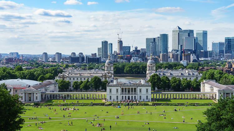 London skyline from Greenwich Hill